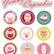 Sweet Yummy Cupcakes Set  — Stock Vector