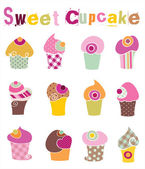 Colorful Cupcake Set — Stock Vector