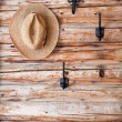 Hats hanging on hook - Stock Photo