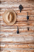 Hats hanging on hook — Stock Photo