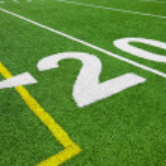 Twenty yard line - football with natural lighting — Stock Photo