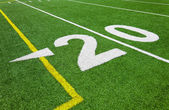Twenty yard line - football with natural lighting — Stock Photo