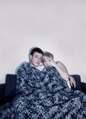 Couple listen to horror or suspense movie — Stock Photo