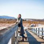 Girl on the bridge in the field — Stock Photo #22419643