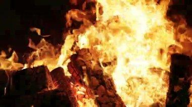 Open haard vuur met audio — Stockvideo