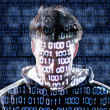 Stock Photo: Hacker with looking directly to camera