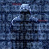 Silhueta de um hacker isloated em preto — Foto Stock