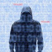 Silhouette of a hacker isloated on white — Foto de Stock