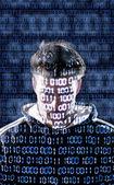 Hacker se dívá přímo do kamery — Stock fotografie