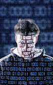 Hacker with looking directly to the camera — Stock Photo