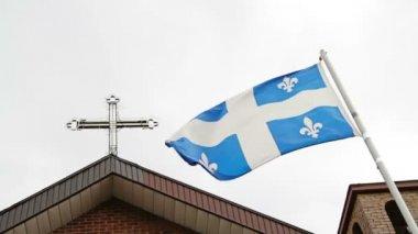 ケベックの旗、宗教 — ストックビデオ