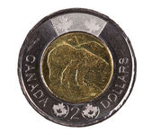 Ottawa, Canada, Avril 13, 2013, A brand new shiny 2012 Canadian two dollars — Stock Photo
