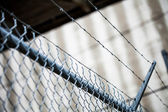 Outdoor Fence Detail of Sharp Barbwire Installation. — Stock Photo