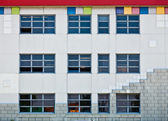 Colorful Generic Wall and Windows with Square Shapes, Stones and — Stock Photo