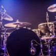 Drumkit on empty stage waiting for musicians — Stock Photo
