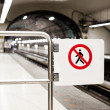 Safety Interdiction Sign (Do not Cross) on a Subway Platform — Stock Photo