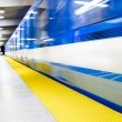Colorful Underground Subway Train with motion blur — Stock Photo