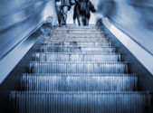 Underground Elevator with motion blur and blue tint — Stock Photo
