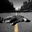 Stock Photo: Empty Road With Dead Body in Middle