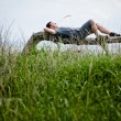 Stock Photo: Young Adult Relaxing Peacefully in Nature