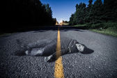 Empty Road With Dead Body's Ghost in the Middle — Stock Photo