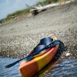 Orange and Yellow Kayak With Oars on the Sea Shore — Stock Photo #34875281