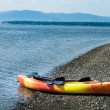 Orange and Yellow Kayak With Oars on the Sea Shore — Stock Photo