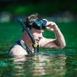 Стоковое фото: Young Adult Snorkeling in river