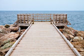 Long Wooden Dock with Observatory and View of the Ocean — Stock Photo