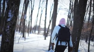Lonely Woman Snowshoeing in Nature on a Beautiful Winter Day — Stock Video