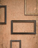 Concrete texture and wooden frame — Stock Photo