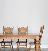 Wooden Dining room table and chair details — Stock Photo