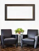 Moderní interiér místnosti a bílé zdi — Stock fotografie