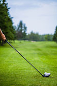 Golfer at the Start with Copyspace for your text — Stockfoto