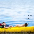 Tired Woman Sleeping in a Kayak — Stock Photo