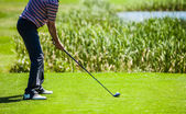 Golfer at the Start with Copyspace for your text — Foto Stock