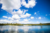 Calm River and Amazing Blue Sky — Stock Photo