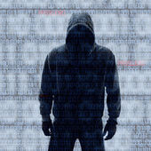 Hacker in Silhouette and Binary Codes — Stock Photo