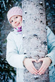 Lovely Girl Hugging a Tree in Forest (Ecology Concept) — Stock Photo