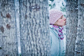 Lovely Girl Kissing a Tree in Forest (Ecology Concept) — Stock Photo
