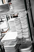 Stack of Cleaned Dishes in a Restaurant — Stock Photo