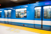 Montreal Metro Train with Motion Blur — Stock Photo