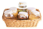 Basket of Soaked Sprouting Seeds — Стоковое фото