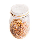 Top View of Sprouting Weat Seeds Growing in a Jar — Stock Photo