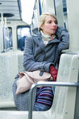 Young Woman Sitting inside a Metro Wagon — Stock Photo