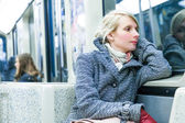 Young Woman Sitting inside a Metro Wagon — Stockfoto