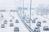 Snowstorm on the Highway during the Rush Hour — Stock Photo