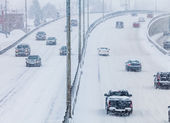 Blizzard on the Road — Stock Photo
