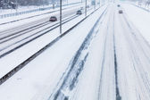 Close-up of Snowy Highway from Above — Stockfoto