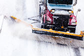Snowplow removing the Snow from the Highway during a Snowstorm — Stock Photo